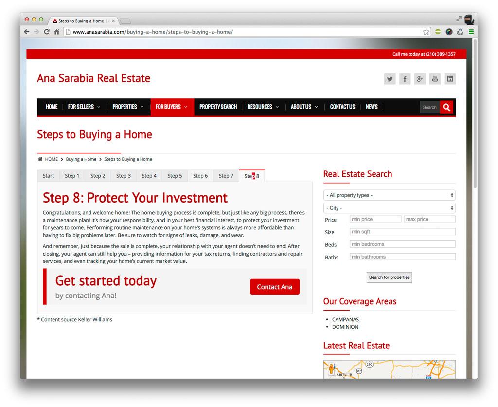 Ana Sarabia Website Content Navigation