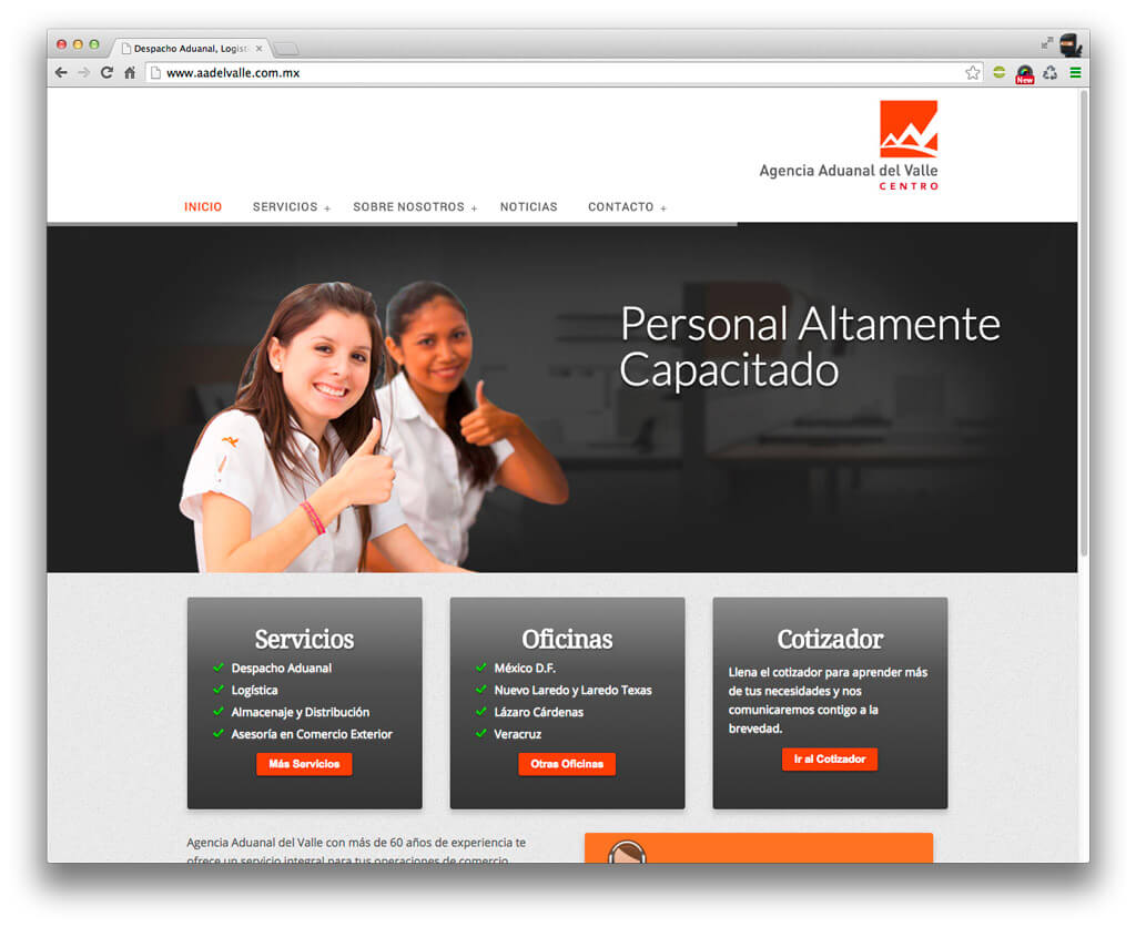 Web Design and Development Bilingual Agencia Aduanal del Valle Home Page